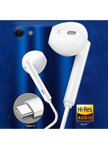 Microsonic Type-C Mikrofonlu Stereo Kulaklık Beyaz Beyaz